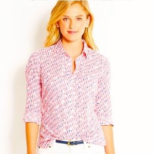 Vineyard Vines Pink Sailboats Button Down Blouse